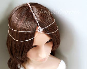 Rose Gold head chain forehead wedding  bridal tiara wedding crown simple minimalist front headband boho bohemian head jewelry festival prom