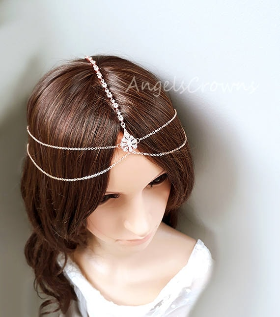 Rose Gold head chain forehead wedding bridal tiara wedding