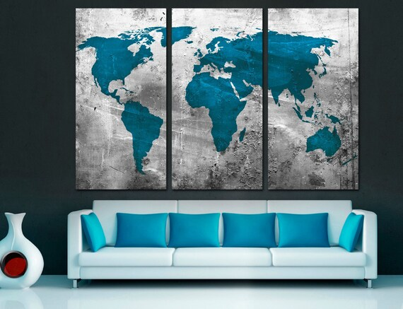 Silver and teal blue world map canvas print 3 panel split gumiabroncs Images