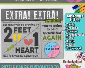 Personalized Pregnancy Announcement Puzzle - Newsletter Pregnancy Announcement Puzzle - Pregnancy Announcement Grandparents Aunt Uncle