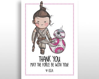 EDITABLE PRINTABLE Star Wars Pink Rey bb-8 Thank You Cards DOWNLOAD, Star Wars Thank You, Girl Star Wars Birthday Party .pdf and .jpg files