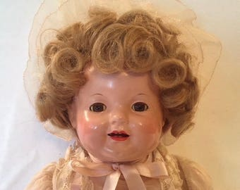 "Amazing Un-played With 18"" Effanbee, Straight Leg Lovums, Shirley Temple Look-a-Like"