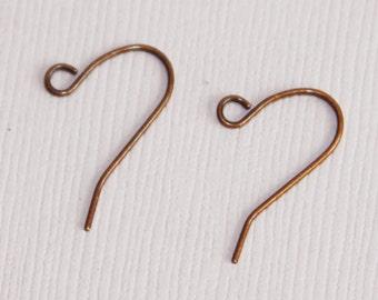 Antiqued copper earrings hook 20X11mm 100 pcs