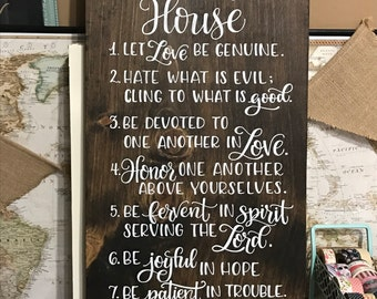 """Bible Verse - House Rules, Family Rules, 12x24"""" Wood Sign, Romans 12:9-12"""