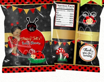 "Ladybug Baby Shower Chip Bag Printable, Candy Bag, Chip Bag, Party Bags | Style 55 | 4.5"" x 7"" -YOU PRINT"