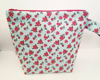 Floral Project Bag, Knitting Project Bag, Large Project Bag, Project Bag for Knitting, Mint Project Bag, Project Bag for Crochet
