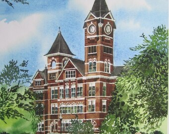 Auburn University Samford Hall /  Giclee PRINT from Original Watercolor