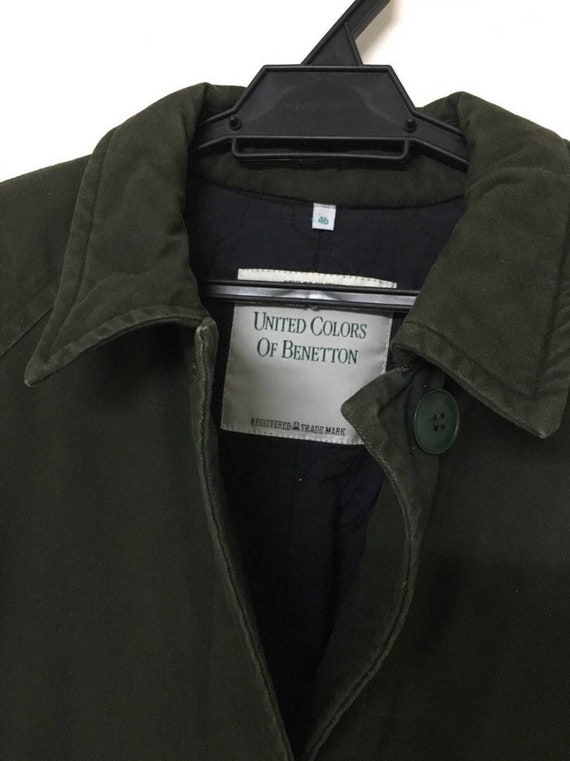 Benetton Military Green Army Wear Camo Parka Winter Olive Quilted vvawqrR