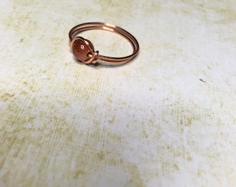 Copper goldstone wire wrapped ring