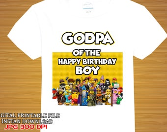 Godpa \ Lego Iron On Transfer\ Lego Shirt Birthday Iron On Transfer\ Instant Download\ Digital Item