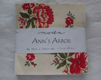 Destash Fabric Charm Pack Ann's Arbor by Minick and Simpson for Moda Fabrics 5 x 5 Priced to Sell