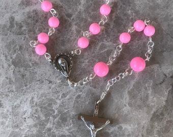 Pink Handmade Rosary, 5 Decade Rosary, Catholic Rosary