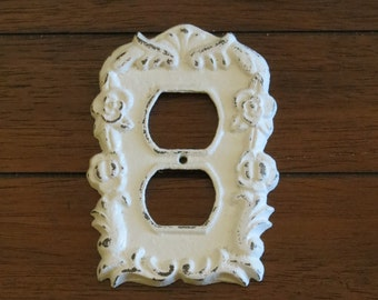 Antique White Decorative Electrical Outlet Plate / Plug In Socket Cover /Vintage  Style Cast
