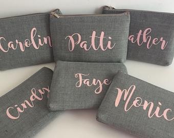Bridesmaid Gift, Name or Monogram Makeup Pouch - Small makeup bag, zipper pouch, purse organizer, coin purse, Gray