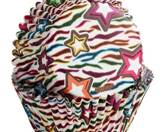36 Wilton Color Cup New Zebra & Stars Baking Cups - Cupcake Liners