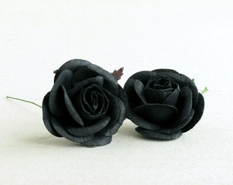 35mm black paper roses 5pcs mulberry paper flowers with 50mm large black paper roses 2pcs mulberry paper flowers with wire stems great for wedding decoration and bouquet 274 mightylinksfo