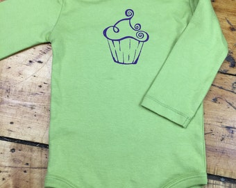 Baby Clothes, Organic Baby Outfit, Organic Clothes for Babies, Cupcakes, Fun Baby Gift, Long Sleeve Baby, Soft Baby Clothes, Greenery Baby