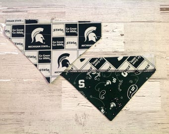Michigan State Spartans Over Collar Dog Bandana, MSU Pet Scarf, Reversible