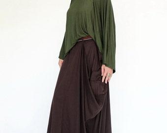 NO.123 Brown Cotton Jersey Mega Pocket Maxi Skirt