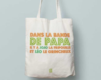 """Bag """"Band Dad"""" to customize, Tote bag with father's day gift for a birthday or Christmas for kids with a super dad"""