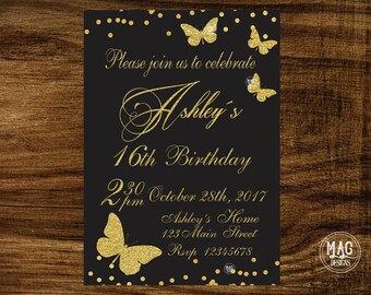 Butterfly birthday invitation, Butterfly invitations, Butterfly birthday invites, Butterfly birthday party, gold butterfly invitation
