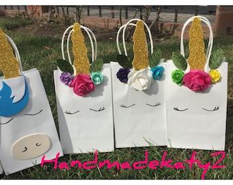 Unicorn goodie bags  set of 10 pieces.