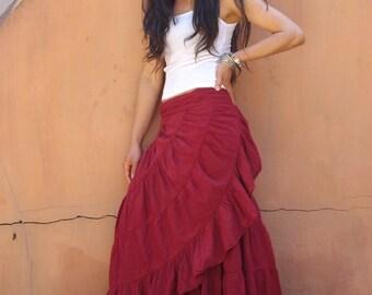 Boho Wrap Skirt ....Wrap Skirt ...Summer Skirt   ...Color Red