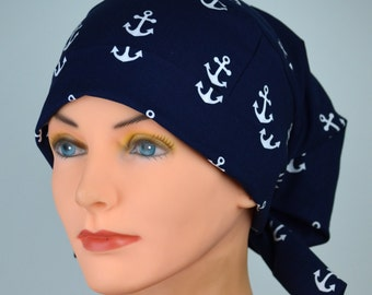 Scrub Hats // Scrub Caps // Scrub Hats for Women // The Hat Cottage // Small // Fabric Ties // Anchors Away