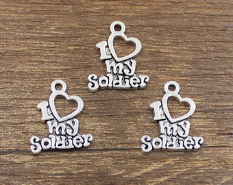 20pcs I Love My Soldier Charms Antique Silver Tone 17x20mm - SH223