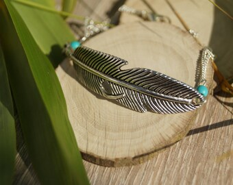 Bracelet feather and beads turquoise