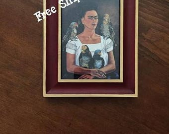 "Framed Frida Kahlo Self Portrait Me and My Parrot - 7.25"" x 9.25"" - Free Shipping!"