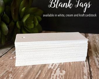 "100 DIY Blank Tags, Blank Favor Tags, Hang tags, Wedding Tags, Product Tags, 3"" x 1 1/16"""