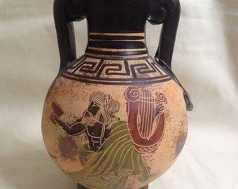 Hand Made Grecian Greek Pottery Jug / Vase / Pot - Hellas  - Greek God - Harp - Black Red and green