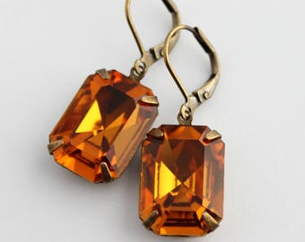 Swarovski Golden Topaz earrings, gold earrings, 18x13 octagon earrings, Topaz Swarovski earrings, topaz wedding, Fall wedding, topaz octagon