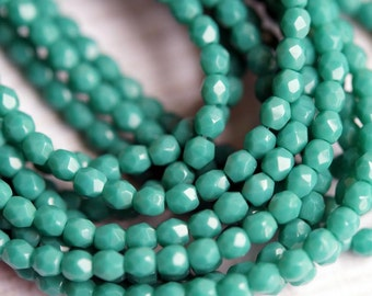 3mm Persian Turquoise Fire Polished Beads - Faceted Beads - Czech Glass - Bead Soup Beads