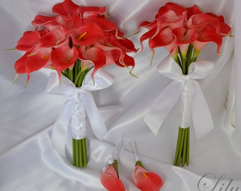"""Bride/MoH Bouquets Groom/Best man Boutonnieres Wedding Bridal Bouquet Real Touch Calla Lily Coral - More Colors """"Lily of Angeles"""" CARE01"""