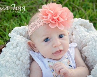 Baby headband, peach baby headband, newborn headband, peach flower headband, photo prop, peach flower, peach headband, baby hair band