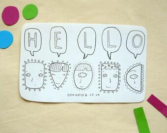 Hello! A5 Sticker