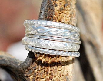 Silver Stacking Rings - Silver Stacking Ring Set - Sterling Silver Rings - Silver Bands - Boho - Patterned Stacking Rings - Stackable Rings