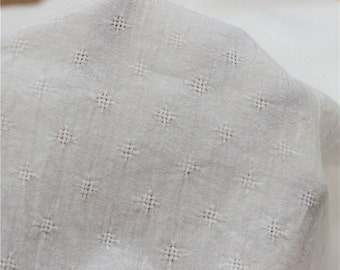 One yard / Meter Jacquard Cotton fabric, Pure White Cloister fabric, Breathable cloth, Inelasticity and soft,Gingham Fabric (QT1073)