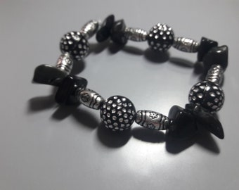 Beautiful black obsidian bracelet