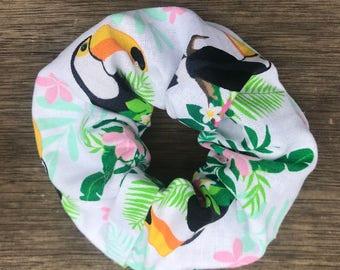 White Tropical Scrunchie