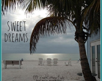 SWEET DREAMS - (Coastal Living Beach Cottage Palm Trees Island Sunset Square format Seaside  Quote Art Photography)