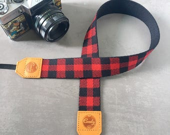 DSLR camera strap, Red Scott Camera Strap, leather camera Strap ,Gift for her