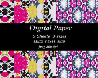 Paper Bead Scrapbook-Floral Kaleidoscope Design- Instant Digital Download