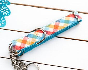 Picnic Plaid Dog Collar - Male Dog Collar - Martingale Chain Collar - Dog Collar - Check Chain Collar - Metal buckle