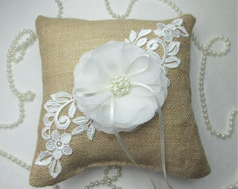 Rustic Country Chic Burlap Wedding Ring Pillow, 8 x 8 inch Ring Bearer Pillow,Burlap Wedding