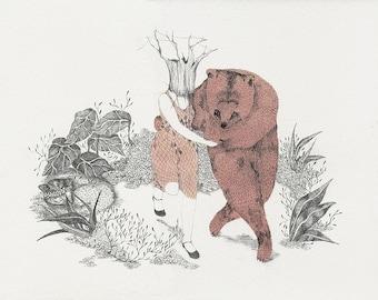 Bear dance, giclee print, fine art