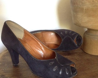 French 70s does 40s black leather suede high heels shoes open toe