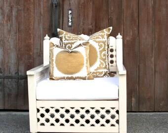White Moroccan Mousharabi Club Chair, White Carved Chair, Moroccan Chair, Patio Chair, Club Chair, Indian Chair, Outdoor Chair